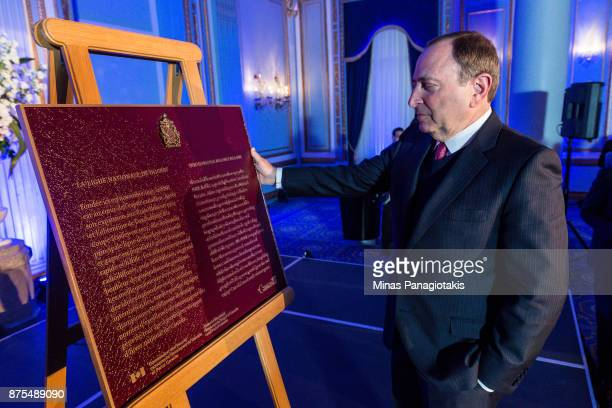 NHL commissioner Gary Bettman takes a moment to look upon the plaque commemorating the Centennial birthday of the National Hockey League during the...