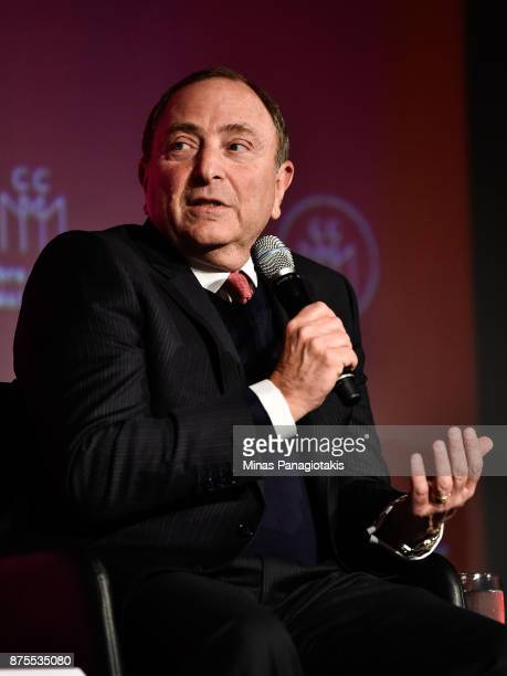 NHL commissioner Gary Bettman takes part in the discussion at the Chamber of Commerce of Metropolitan Montreal Luncheon during the NHL Centennial 100...