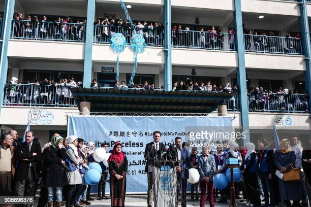 Commissioner General for the United Nations Relief and Works Agency for Palestine Refugees Pierre Krahenbuhl hold a press conference in Gaza City...