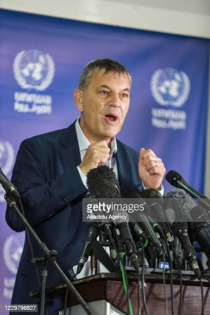 Commissioner General of the United Nations Palestine Refugee Agency Philippe Lazzarini makes a speech as he holds a press conference following his...
