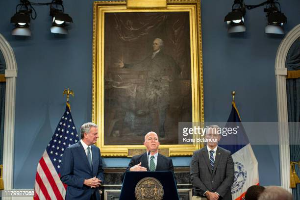 Commissioner James O'Neill speaks during a press conference announcing his resignation on November 4 2019 in New York City O'Neill served as NYPD...
