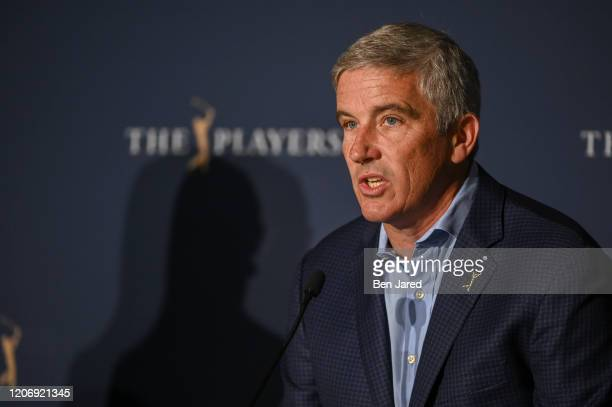 Commissioner Jay Monahan addresses the media about the cancelation of play at THE PLAYERS Championship on THE PLAYERS Stadium Course at TPC Sawgrass...