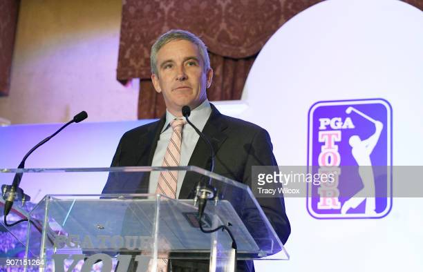Commissioner Jay Monahan addresses the media and employees during the PGA TOUR Global Home press conference at TPC Sawgrass on January 19 2018 in...