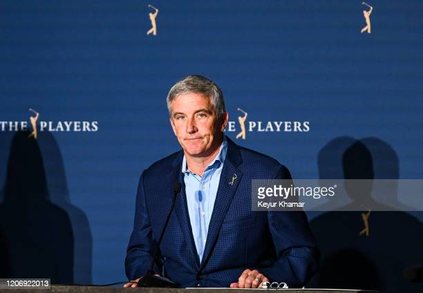 Commissioner Jay Monahan departs a press conference following the cancellation of THE PLAYERS Championship on The Stadium Course at TPC Sawgrass on...