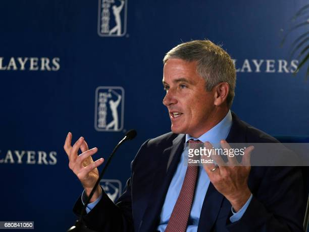 Commissioner Jay Monahan during a press conference annoucement of the FedEx Cup 10 year extension of sponsorship with the PGA TOUR during previews...