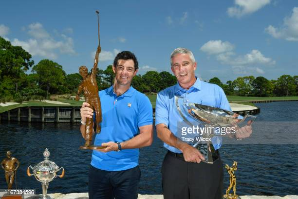 Commissioner Jay Monahan poses with Rory McIlroy of Northern Ireland the PGA TOUR Player of the Year during the Player of the Year ceremony at The...