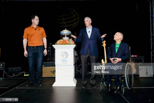 Commissioner Jay Monahan second from right along with CEO of Dell Technologies Michael Dell left and Texas Governor Greg Abbott far right announce a...
