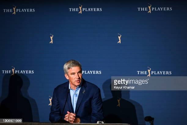 Commissioner Jay Monahan speaks during a press conference following the cancellation of THE PLAYERS Championship on The Stadium Course at TPC...