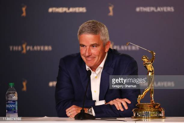 Commissioner Jay Monahan speaks to the media during a practice round for The PLAYERS Championship on The Stadium Course at TPC Sawgrass on March 13...