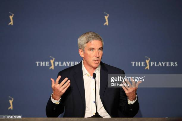 Commissioner Jay Monahan speaks to the media in a press conference during the first round of The PLAYERS Championship on The Stadium Course at TPC...