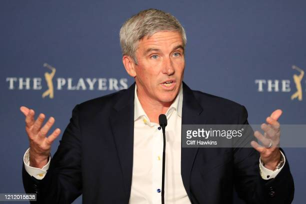 Commissioner Jay Monahan speaks to the media in a press conference addressing the Coronavirus disease during the first round of The PLAYERS...