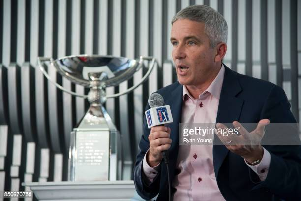 Commissioner Jay Monahan speaks with members of the media during a press conference prior to the start of the TOUR Championship, the final event of...