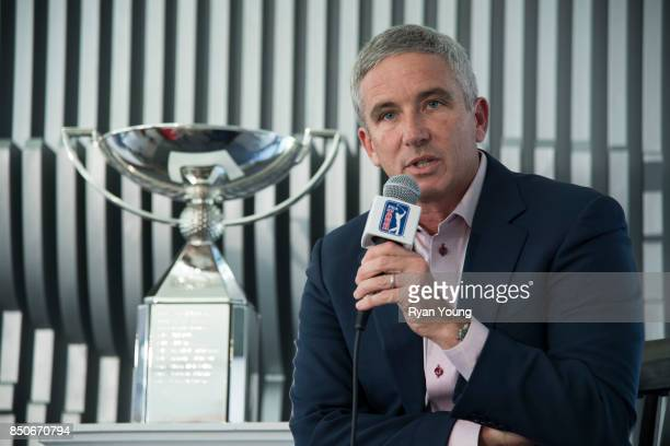 Commissioner Jay Monahan speaks with members of the media during a press conference prior to the start of the TOUR Championship the final event of...