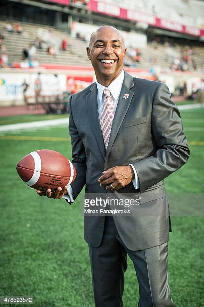 Commissioner Jeffrey Orridge poses for photos prior to the CFL game between the Montreal Alouettes and the Ottawa Redblacks at Percival Molson...