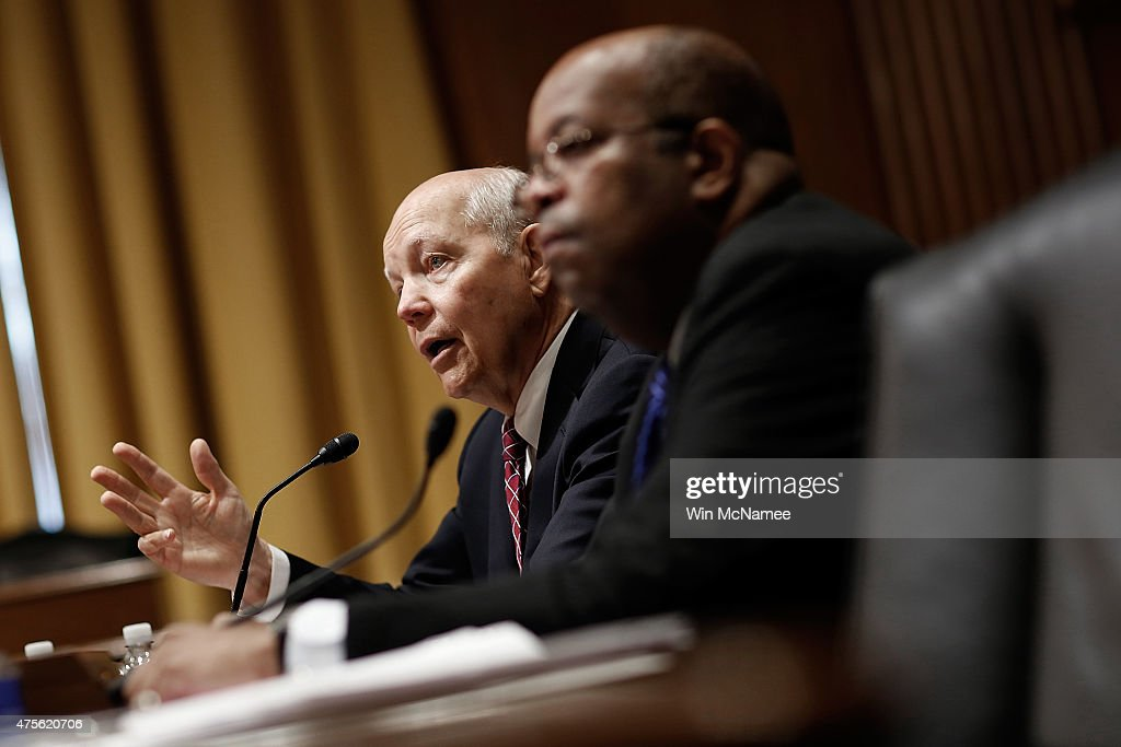 S. Commissioner John Koskinen (L) and Treasury Inspector General for Tax Administration J. Russell George (R) testify before the Senate Finance Committee June 2, 2015 in Washington, DC. The committee heard testimony on the topic of 'Internal Revenue Service Data Theft Affecting Taxpayer Information.'