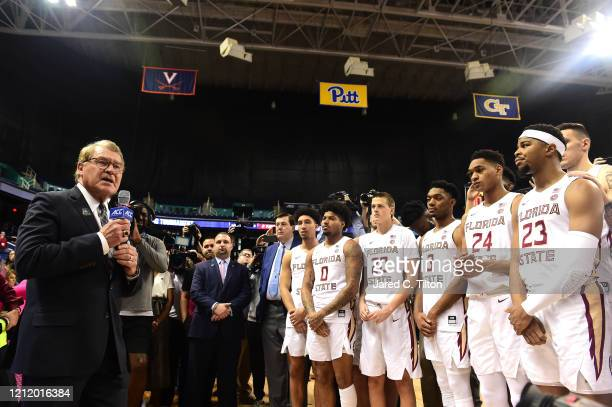 Commissioner John Swofford announces the cancelation of the remainder of the 2020 Men's ACC Basketball Tournament at Greensboro Coliseum on March 12,...