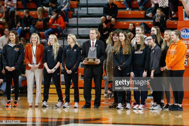 Commissioner Jon Steinbrecher presents the MAC Faculty Athletics Representatives Award which recognizes the conference institution with the overall...