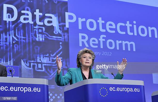 EU commissioner Justice Fundamental Rights and Citizenship Viviane Reding gives a press conference as the Commission proposed a comprehensive reform...