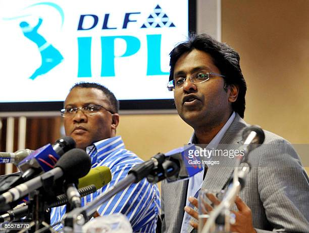 Commissioner Lalit Modi and Cricket South Africa CEO Gerald Majola attend a press conference at the Wanderers Gymnasium on March 24 2009 in...