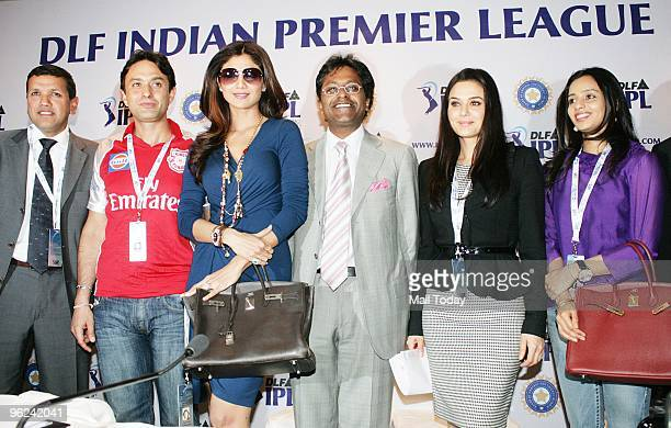 Commissioner Lalit Modi with Coowner of Rajasthan Royals Shilpa Shetty and Coowner of Kings XI Punjab Preity Zinta and Ness Wadia at a press...