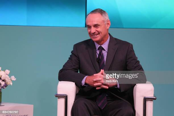 Commissioner Major League Baseball Rob Manfred speaks on stage at the Yahoo Finance All Markets Summit on February 8 2017 in New York City