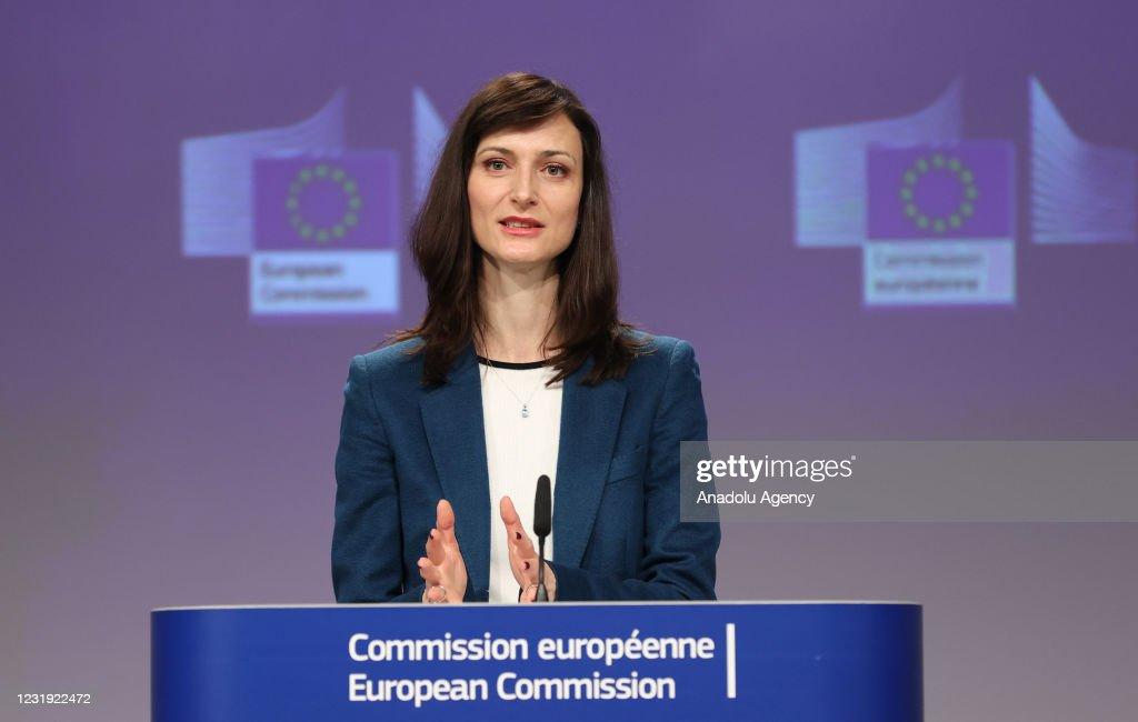 EU Commissioner Mariya Gabriel press conference : News Photo