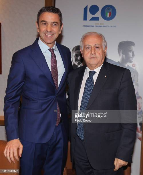 FIGC Commissioner Massimo Fabbricini and FIGC Vice Commissioner Alessandro Costacurta pose with Italy jersey during the FIGC press conference '120th...
