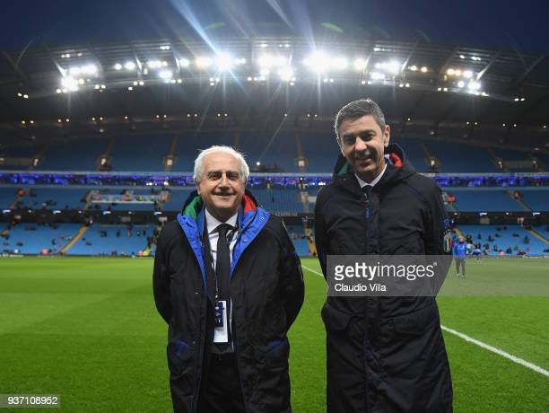 Commissioner Massimo Fabbricini and FIGC Vice Commissioner Alessandro Costacurta pose prior to the International friendly match between Italy and...