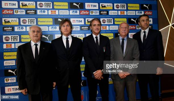 FIGC Commissioner Massimo FabbricinI team manager Gabriele Oriali head coach Italy Roberto Mancini FIGC Vice Commissioner Angelo Clarizia and FIGC...