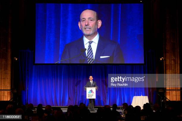 Commissioner, MLS, Don Garber speaks onstage during 2019 Mount Sinai Prostate Cancer Research Gala at Cipriani 42nd Street on November 06, 2019 in...