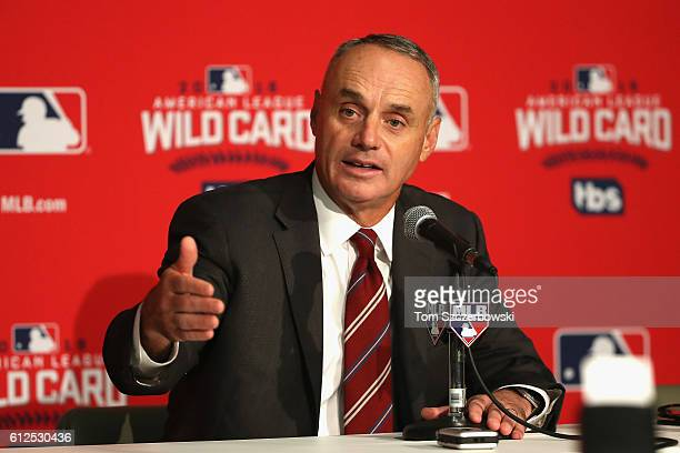 Commissioner of Baseball Rob Manfred addresses the media during a press conference prior to the American League Wild Card game between the Toronto...