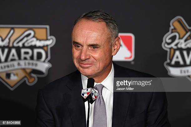 Commissioner of Baseball Rob Manfred looks on during the 2016 Hank Aaron Award ceremony prior to Game Two of the 2016 World Series between the...