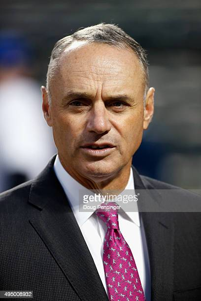 Commissioner of Baseball Rob Manfred looks on prior to Game Three of the 2015 World Series between the New York Mets and the Kansas City Royals at...
