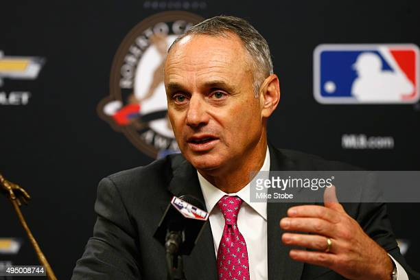 Commissioner of Baseball Rob Manfred speaks to the media prior to Game Three of the 2015 World Series between the New York Mets and the Kansas City...