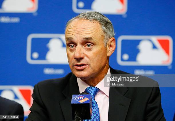 Commissioner of Baseball Robert D Manfred Jr speaks at a press conference on youth initiatives hosted by Major League Baseball and the Major League...