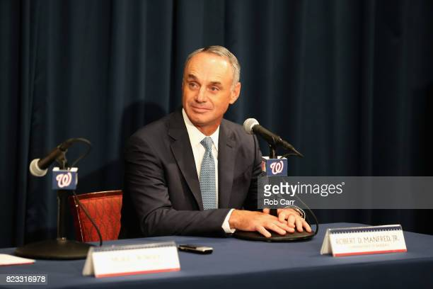 Commissioner of Baseball Robert D Manfred Jr speaks during the unveiling of the 2018 AllStar Game logo at Nationals Park on July 26 2017 in...