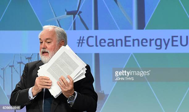 EU Commissioner of Climate Action Energy Miguel Arias Canete gives a press conference on the Clean Energy package at the EU headquarters in Brussels...