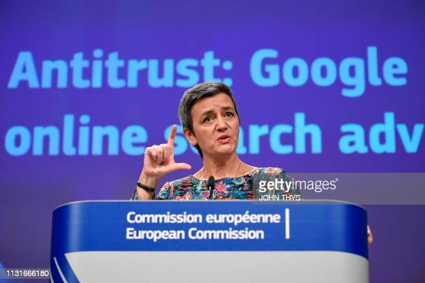 EU Commissioner of Competition Margrethe Vestager gives a joint press on Antitrust Google online search advertising at the EU headquarters in...