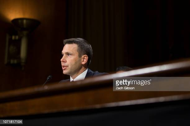 Commissioner of Customs and Border Protection Kevin McAleenan testifies during a Senate Judiciary Committee hearing on December 11 2018 in Washington...