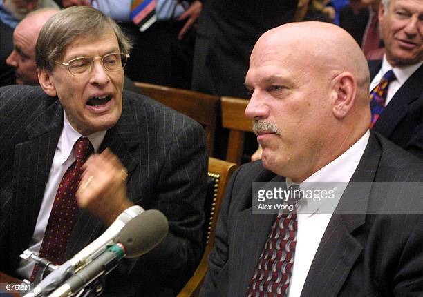 Commissioner of Major League Baseball Allan Bud Selig speaks with Minnesota Governor Jesse Ventura prior to a hearing on HR 3288 the Fairness in...