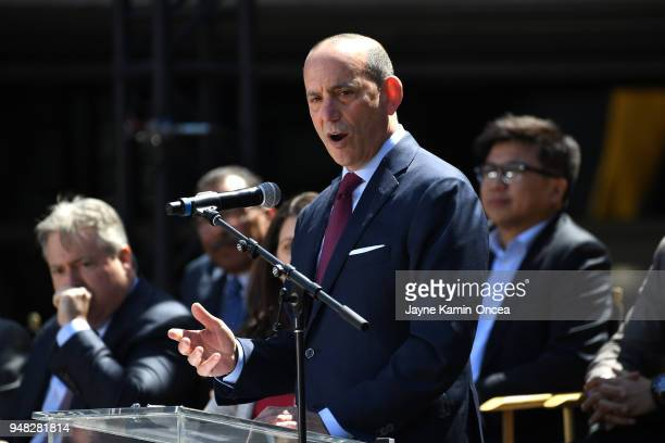 Commissioner of Major League Soccer Don Garber speaks to fans and media at the ribbon cutting ceremony for the new home of th Los Angeles FC at the...