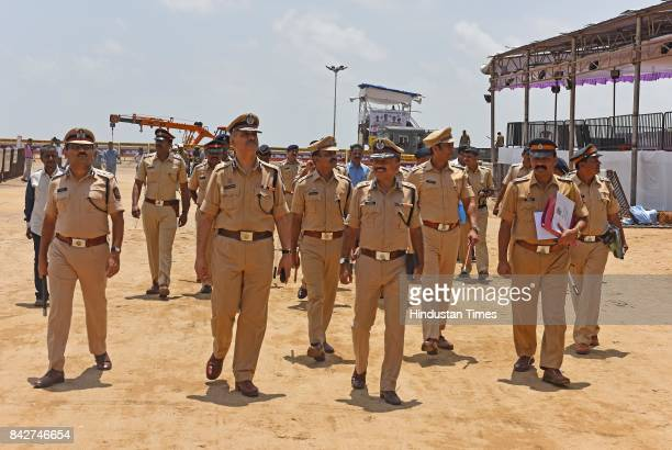 Commissioner of Police Dattatray Padsalgikar visits Girgaum Chowpatty to see the last day of Ganpati Visarjan preparation on September 4 2017 in...