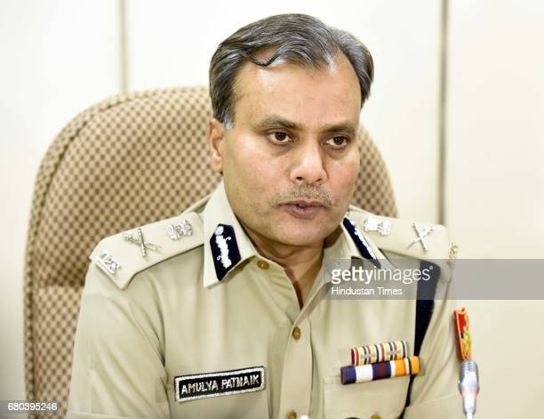 Commissioner of Police Delhi Amulya Patnaik addresses media person during the team facilitation for the Nirbhaya case investigation team at the...