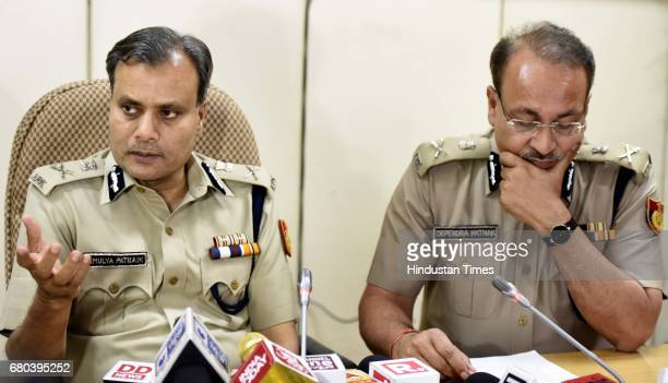 Commissioner of Police Delhi Amulya Patnaik and Special Commissioner of Police Delhi Depender Pathak address media person during the team...