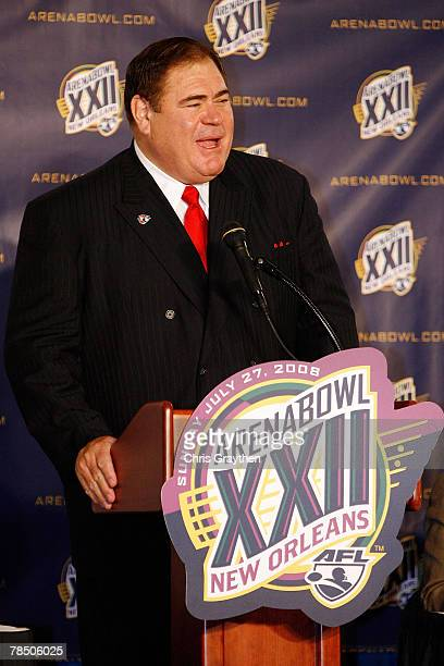 Commissioner of the Arena Football League David Baker speaks to the media to announce the return of Arena Bowl to the city of New Orleans on December...