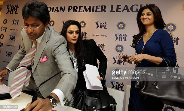 Commissioner of the Indian Premier League Lalit Kumar Modi along with coowner of 'Kings XI Punjab' Priety Zinta and coowner of 'Rajasthan Royals'...