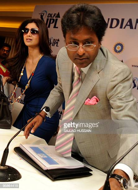 Commissioner of the Indian Premier League Lalit Kumar Modi and coowner of 'Rajasthan Royals' Shilpa Shetty arrive for a press conference after the...