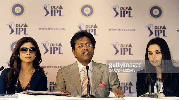Commissioner of the Indian Premier League Lalit Kumar Modi accompanied by coowner of 'Rajasthan Royals' Shilpa Shetty with coowner of 'Kings XI...