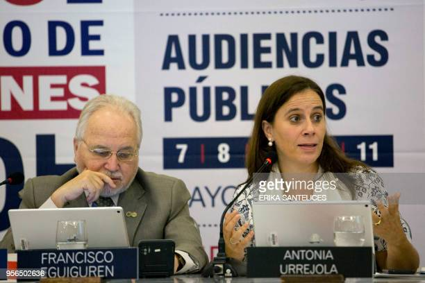 Commissioner of the InterAmerican Commission on Human Rights Antonia Urrejola speaks with representatives of the Colombian state during a hearing at...