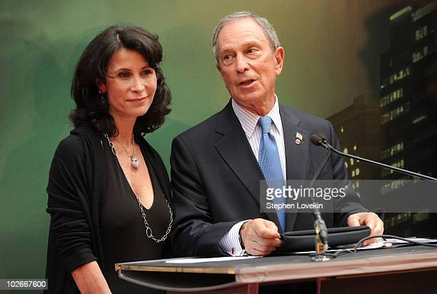 Commissioner of the Mayor's Office for Film Theater and Broadcasting Katherine Oliver and New York City Mayor Michael Bloomberg speak at the premiere...